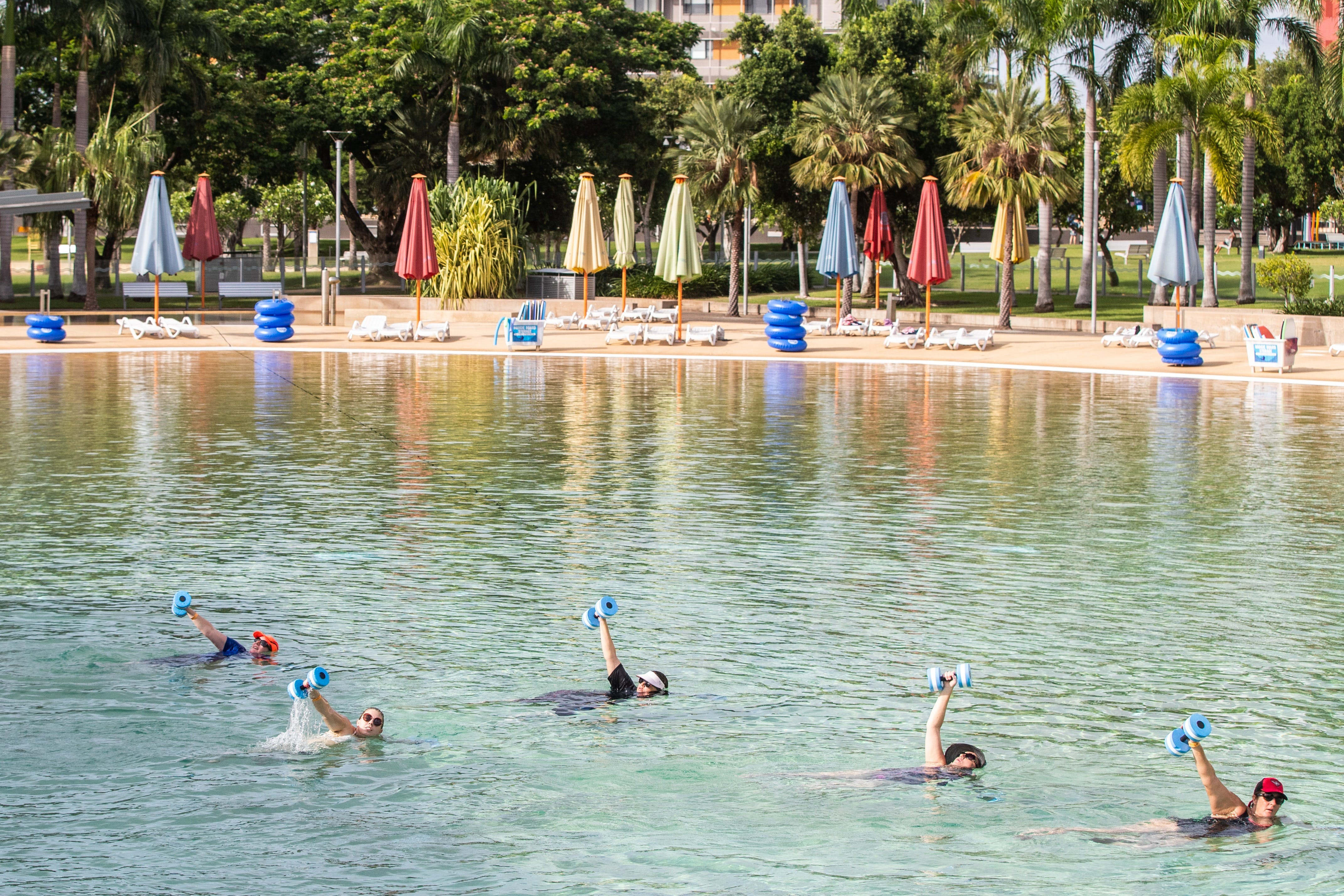 Aqua fitness in the Wave Lagoon - Whitsundays Tourism